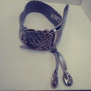 Michael Kors silver leather belt nwt